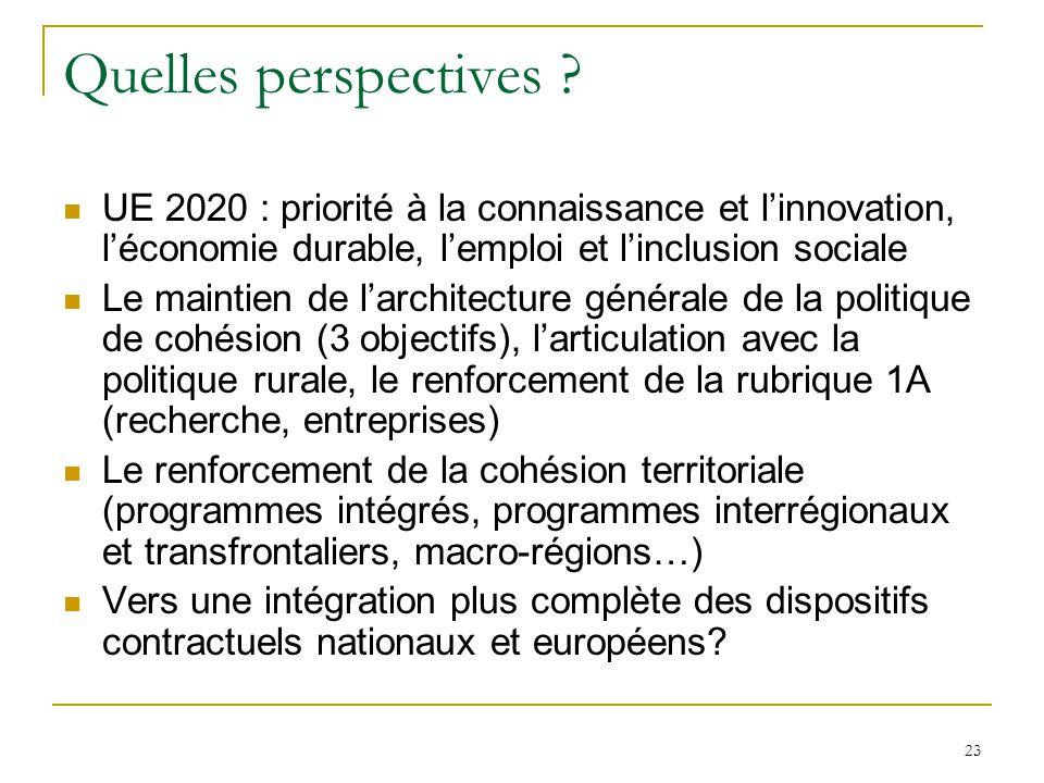 23 Quelles perspectives ? UE 2020 : priorité à la connaissance et l'innovation, l'économie durable, l'emploi et l'inclusion sociale Le maintien de l'a