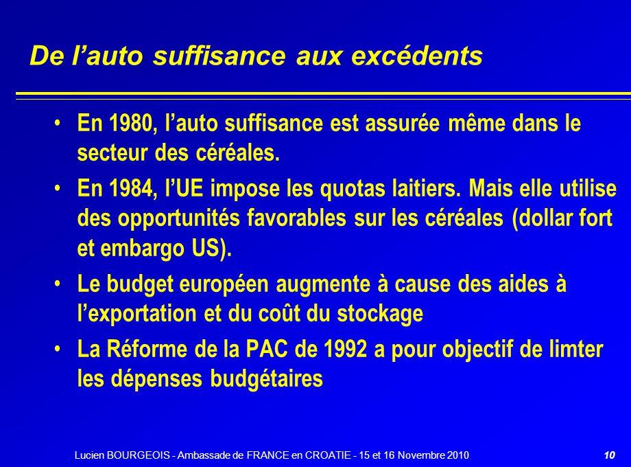 De l'auto suffisance aux excédents En 1980, l'auto suffisance est assurée même dans le secteur des céréales. En 1984, l'UE impose les quotas laitiers.