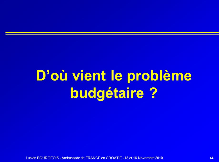 14 D'où vient le problème budgétaire ? Lucien BOURGEOIS - Ambassade de FRANCE en CROATIE - 15 et 16 Novembre 2010