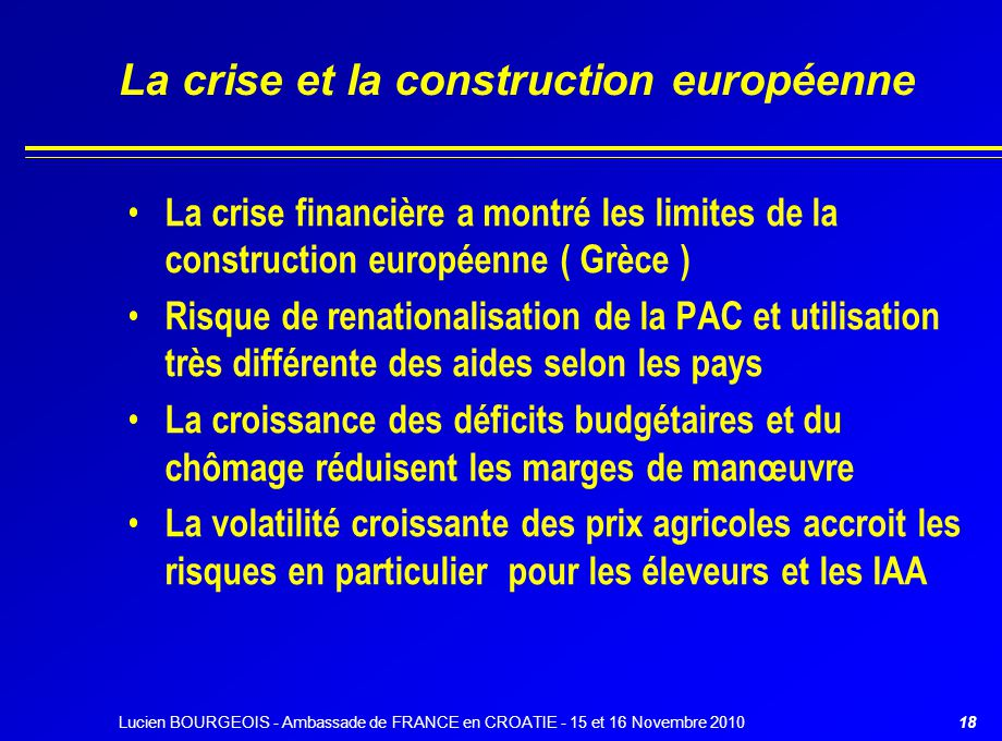 La crise et la construction européenne La crise financière a montré les limites de la construction européenne ( Grèce ) Risque de renationalisation de
