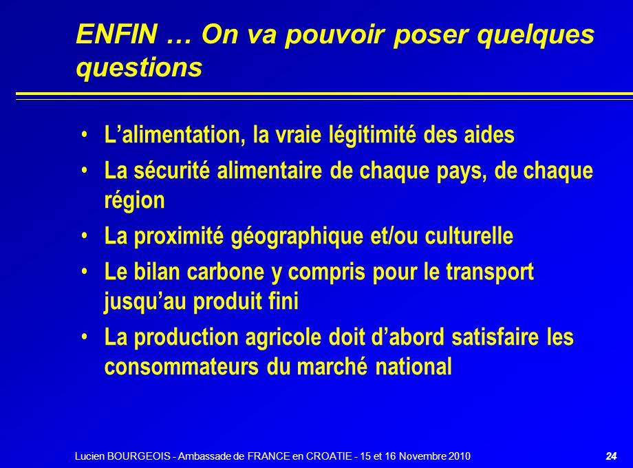 ENFIN … On va pouvoir poser quelques questions L'alimentation, la vraie légitimité des aides La sécurité alimentaire de chaque pays, de chaque région