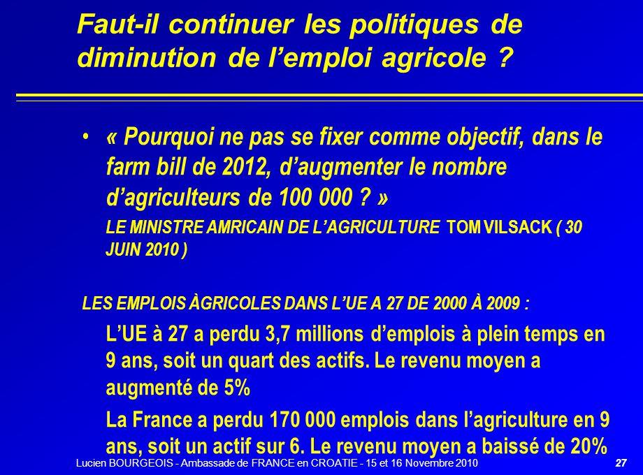 Faut-il continuer les politiques de diminution de l'emploi agricole ? « Pourquoi ne pas se fixer comme objectif, dans le farm bill de 2012, d'augmente