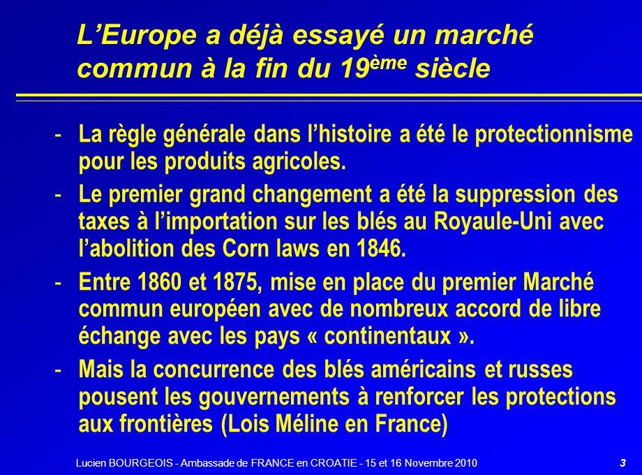 L'Europe a déjà essayé un marché commun à la fin du 19 ème siècle - La règle générale dans l'histoire a été le protectionnisme pour les produits agric