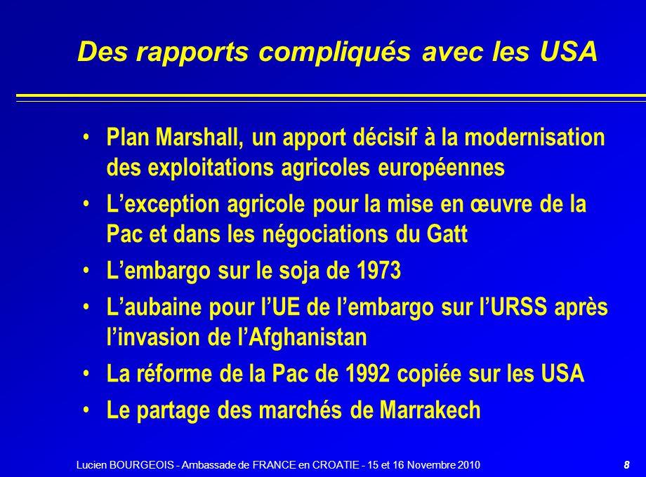 Des rapports compliqués avec les USA Plan Marshall, un apport décisif à la modernisation des exploitations agricoles européennes L'exception agricole
