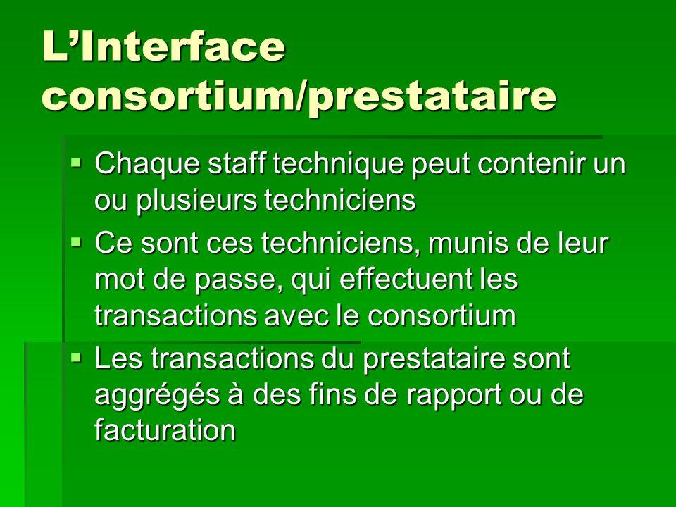 L'Interface consortium/prestataire  Chaque staff technique peut contenir un ou plusieurs techniciens  Ce sont ces techniciens, munis de leur mot de