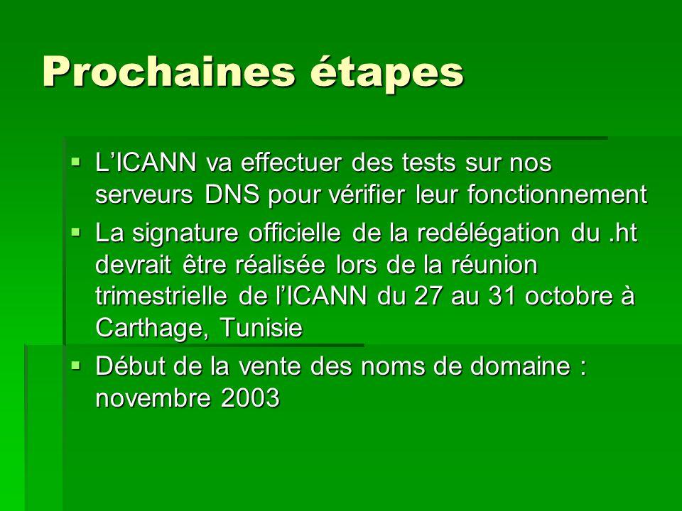 Prochaines étapes  L'ICANN va effectuer des tests sur nos serveurs DNS pour vérifier leur fonctionnement  La signature officielle de la redélégation