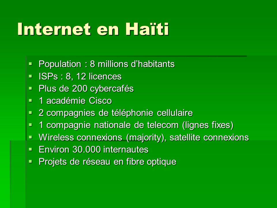 Internet en Haïti  Population : 8 millions d'habitants  ISPs : 8, 12 licences  Plus de 200 cybercafés  1 académie Cisco  2 compagnies de téléphon
