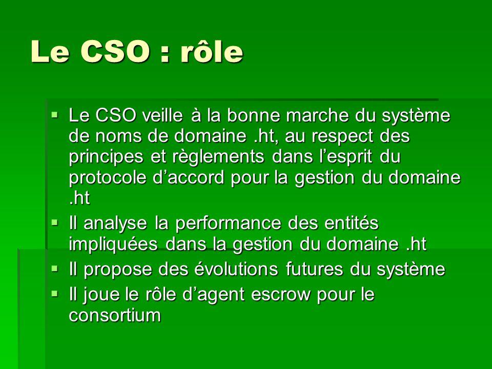 Le CSO : rôle  Le CSO veille à la bonne marche du système de noms de domaine.ht, au respect des principes et règlements dans l'esprit du protocole d'