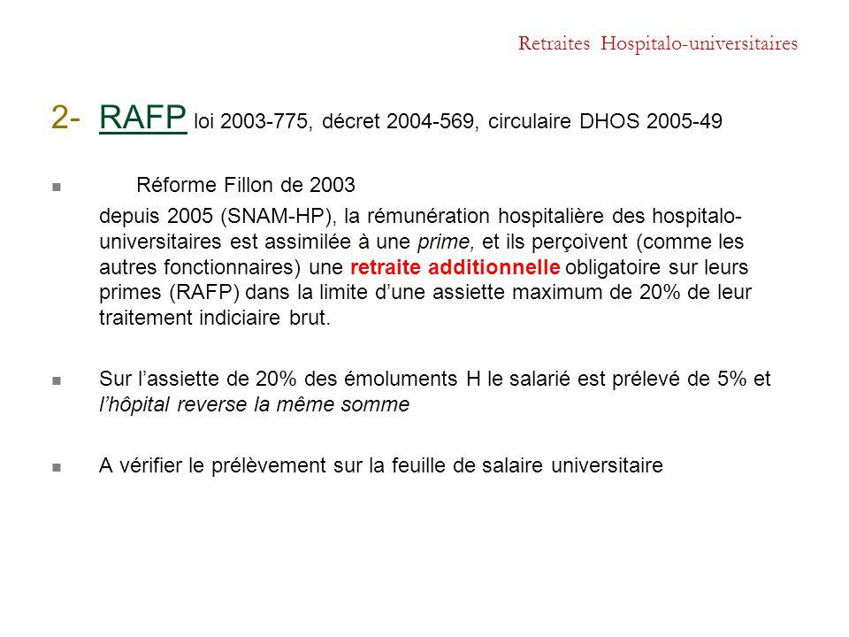 Retraites Hospitalo-universitaires 2- RAFP loi 2003-775, décret 2004-569, circulaire DHOS 2005-49 Réforme Fillon de 2003 depuis 2005 (SNAM-HP), la rém
