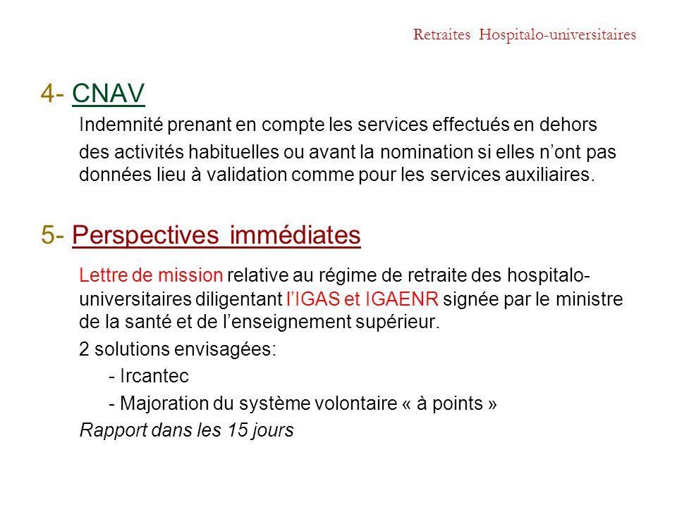 Retraites Hospitalo-universitaires 4- CNAV Indemnité prenant en compte les services effectués en dehors des activités habituelles ou avant la nominati