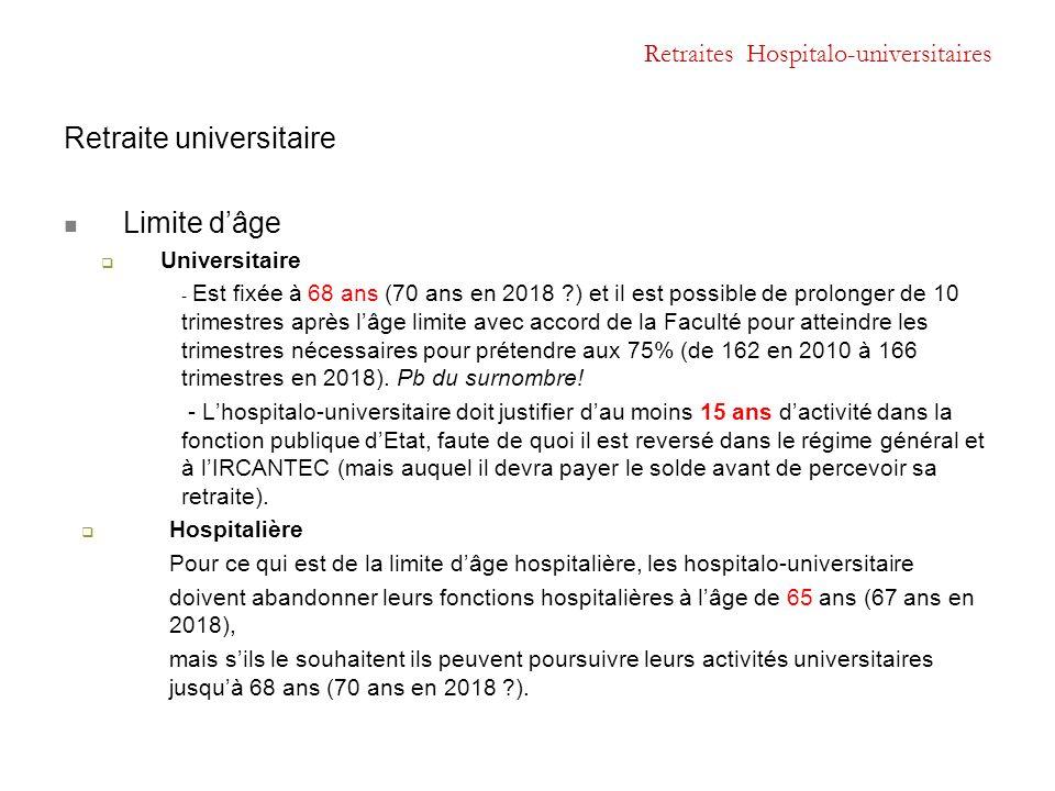 Retraites Hospitalo-universitaires Retraite universitaire Limite d'âge  Universitaire - Est fixée à 68 ans (70 ans en 2018 ?) et il est possible de p