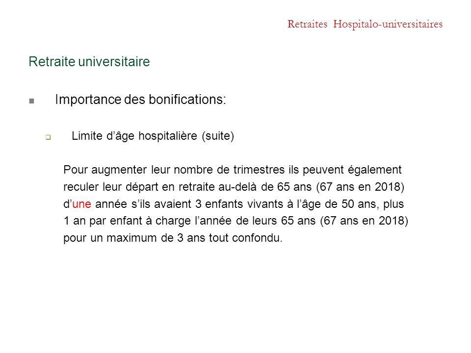 Retraites Hospitalo-universitaires Retraite universitaire Importance des bonifications:  Limite d'âge hospitalière (suite) Pour augmenter leur nombre