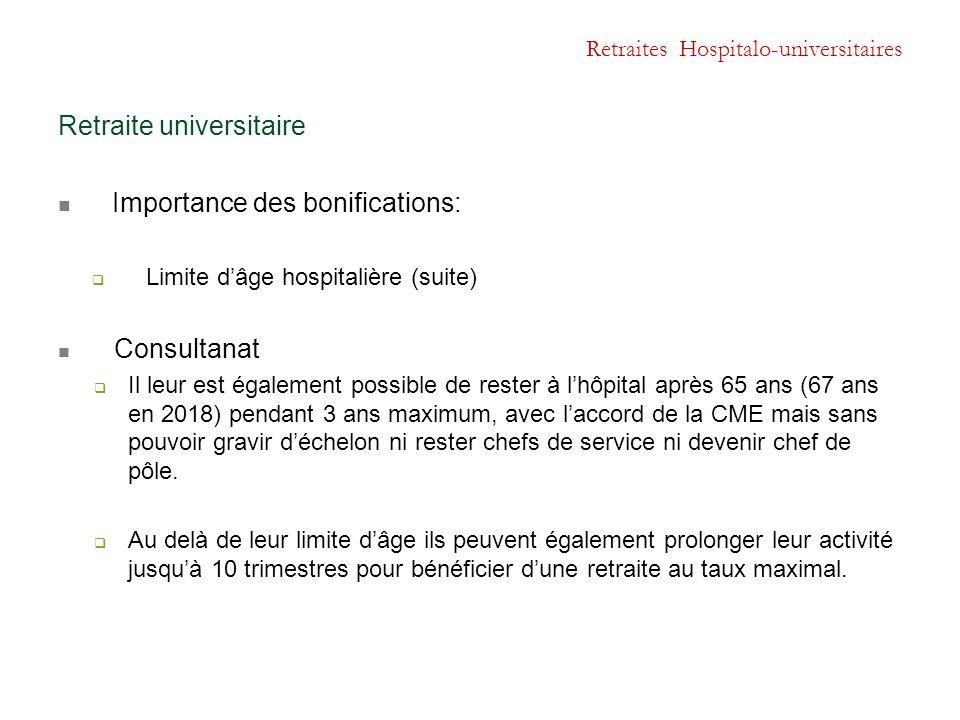 Retraites Hospitalo-universitaires Retraite universitaire Importance des bonifications:  Limite d'âge hospitalière (suite) Consultanat  Il leur est