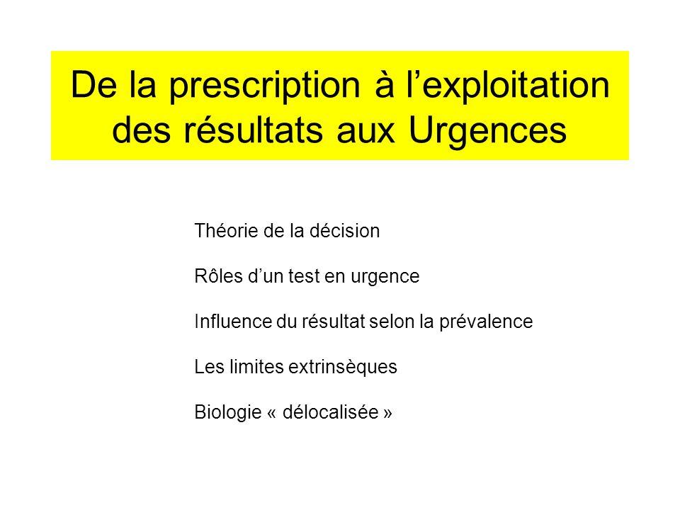 De la prescription à l'exploitation des résultats aux Urgences Théorie de la décision Rôles d'un test en urgence Influence du résultat selon la prévalence Les limites extrinsèques Biologie « délocalisée »
