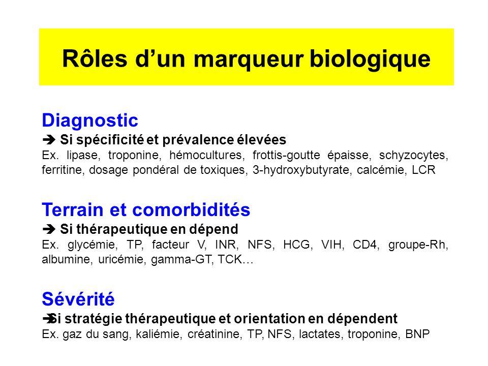 Rôles d'un marqueur biologique Diagnostic  Si spécificité et prévalence élevées Ex. lipase, troponine, hémocultures, frottis-goutte épaisse, schyzocy