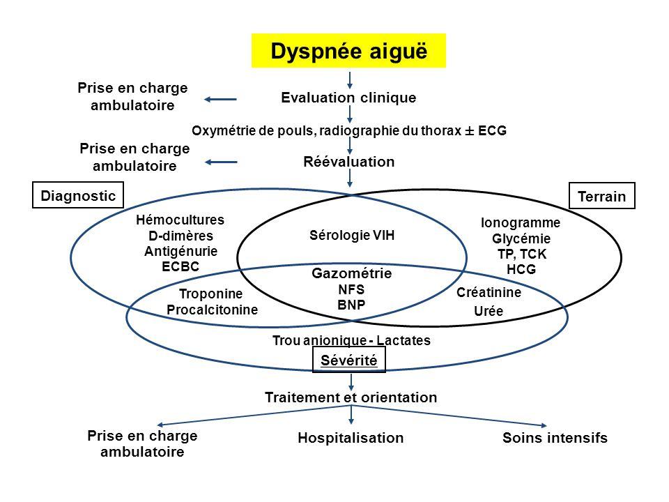 Dyspnée aiguë Evaluation clinique Prise en charge ambulatoire Ionogramme Glycémie TP, TCK HCG Créatinine Urée Terrain Trou anionique - Lactates Sévéri