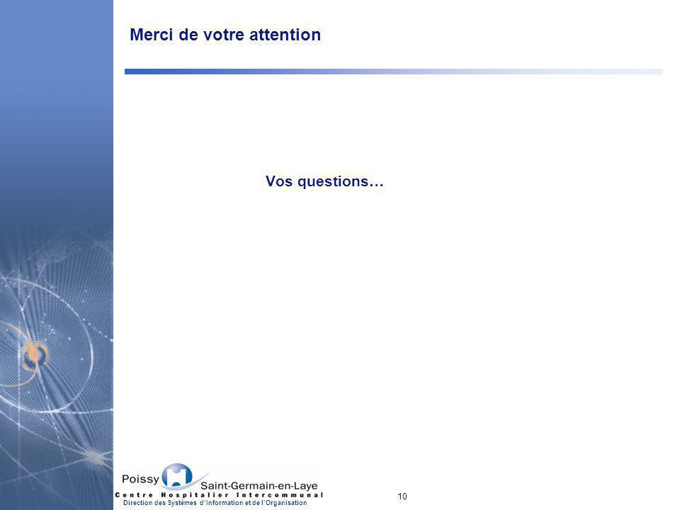 10 Direction des Systèmes d'Information et de l'Organisation Merci de votre attention Vos questions…