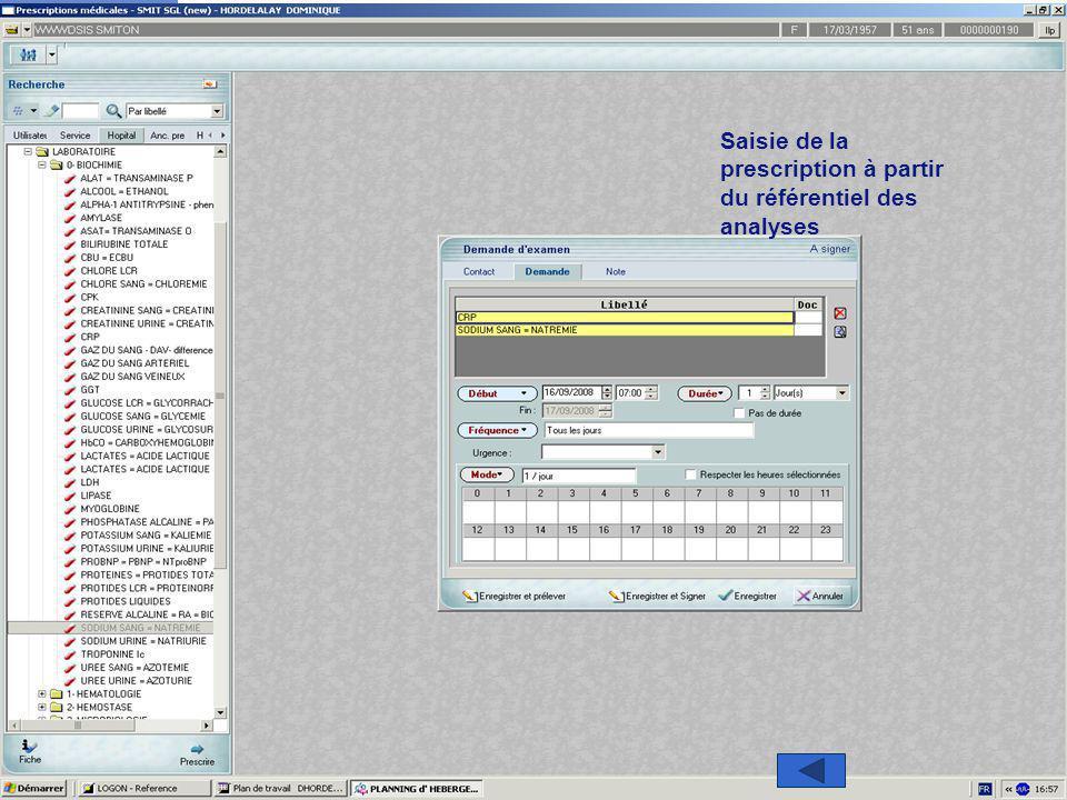 11 Direction des Systèmes d'Information et de l'Organisation Saisie de la prescription à partir du référentiel des analyses