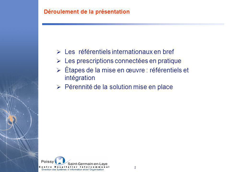 2 Direction des Systèmes d'Information et de l'Organisation Déroulement de la présentation  Les référentiels internationaux en bref  Les prescriptio
