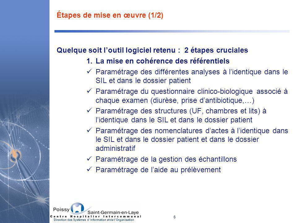 6 Direction des Systèmes d'Information et de l'Organisation Étapes de mise en œuvre (1/2) Quelque soit l'outil logiciel retenu : 2 étapes cruciales 1.