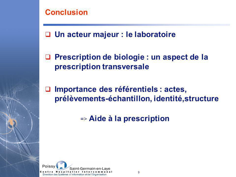 9 Direction des Systèmes d'Information et de l'Organisation Conclusion  Un acteur majeur : le laboratoire  Prescription de biologie : un aspect de l