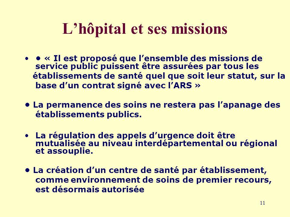 11 L'hôpital et ses missions « Il est proposé que l'ensemble des missions de service public puissent être assurées par tous les établissements de santé quel que soit leur statut, sur la base d'un contrat signé avec l'ARS » La permanence des soins ne restera pas l'apanage des établissements publics.