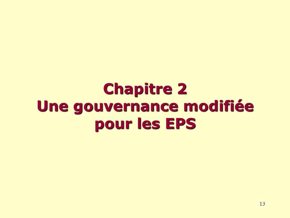 13 Chapitre 2 Une gouvernance modifiée pour les EPS