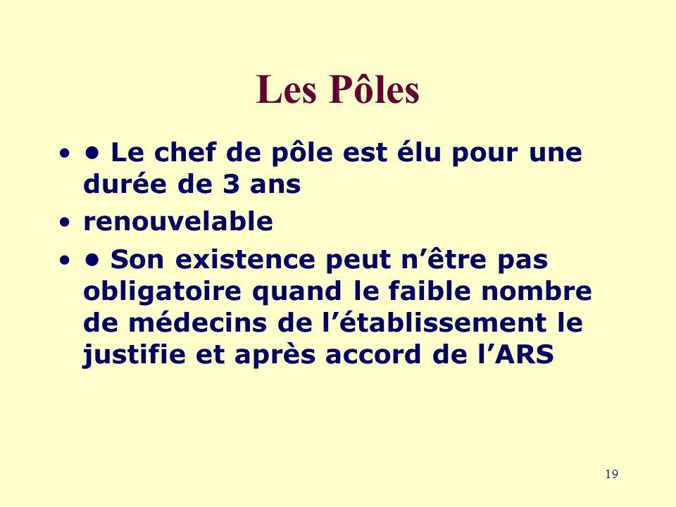 19 Les Pôles Le chef de pôle est élu pour une durée de 3 ans renouvelable Son existence peut n'être pas obligatoire quand le faible nombre de médecins de l'établissement le justifie et après accord de l'ARS
