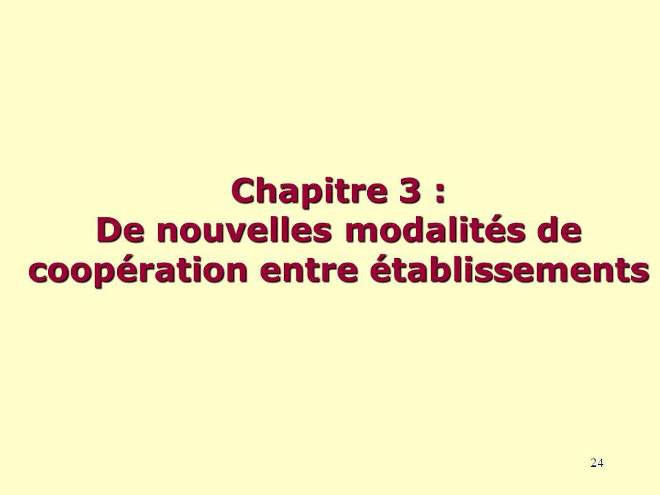 24 Chapitre 3 : De nouvelles modalités de coopération entre établissements