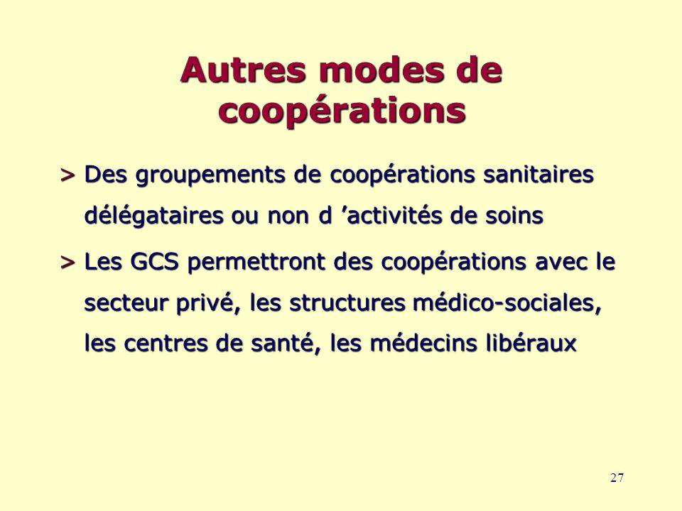 27 Autres modes de coopérations >Des groupements de coopérations sanitaires délégataires ou non d 'activités de soins >Les GCS permettront des coopérations avec le secteur privé, les structures médico-sociales, les centres de santé, les médecins libéraux