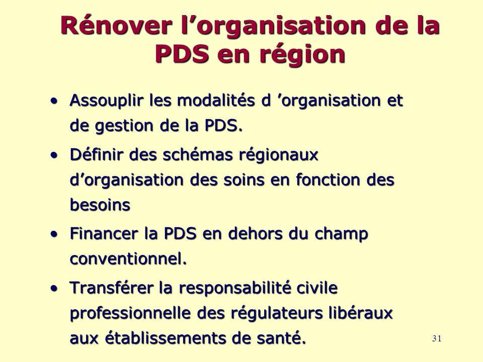 31 Rénover l'organisation de la PDS en région Assouplir les modalités d 'organisation et de gestion de la PDS.