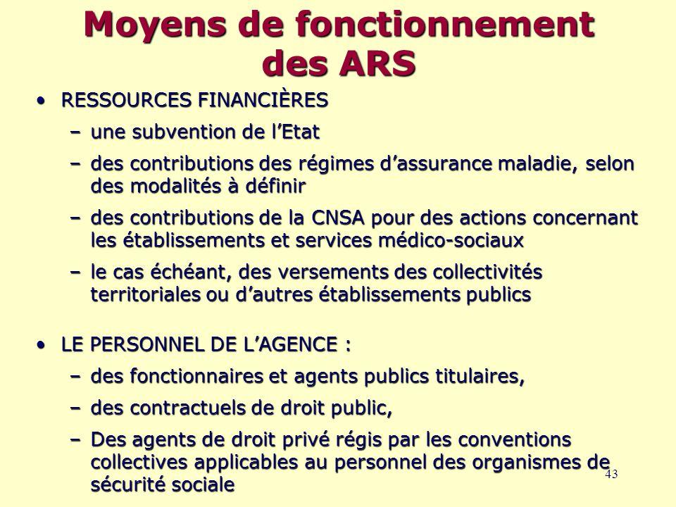 43 Moyens de fonctionnement des ARS RESSOURCES FINANCIÈRESRESSOURCES FINANCIÈRES –une subvention de l'Etat –des contributions des régimes d'assurance maladie, selon des modalités à définir –des contributions de la CNSA pour des actions concernant les établissements et services médico-sociaux –le cas échéant, des versements des collectivités territoriales ou d'autres établissements publics LE PERSONNEL DE L'AGENCE :LE PERSONNEL DE L'AGENCE : –des fonctionnaires et agents publics titulaires, –des contractuels de droit public, –Des agents de droit privé régis par les conventions collectives applicables au personnel des organismes de sécurité sociale