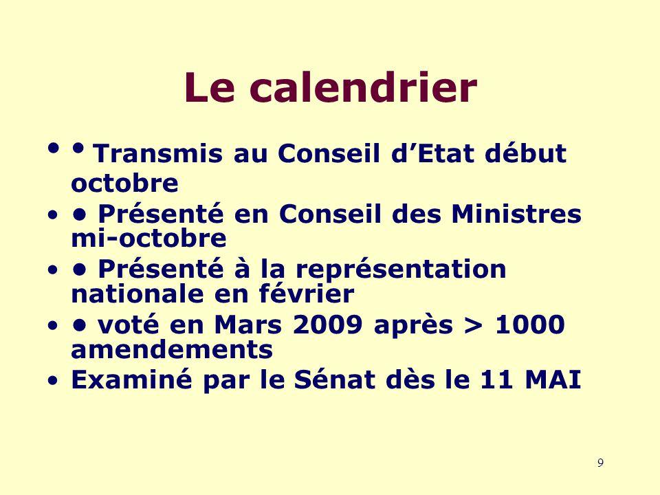 9 Le calendrier Transmis au Conseil d'Etat début octobre Présenté en Conseil des Ministres mi-octobre Présenté à la représentation nationale en février voté en Mars 2009 après > 1000 amendements Examiné par le Sénat dès le 11 MAI