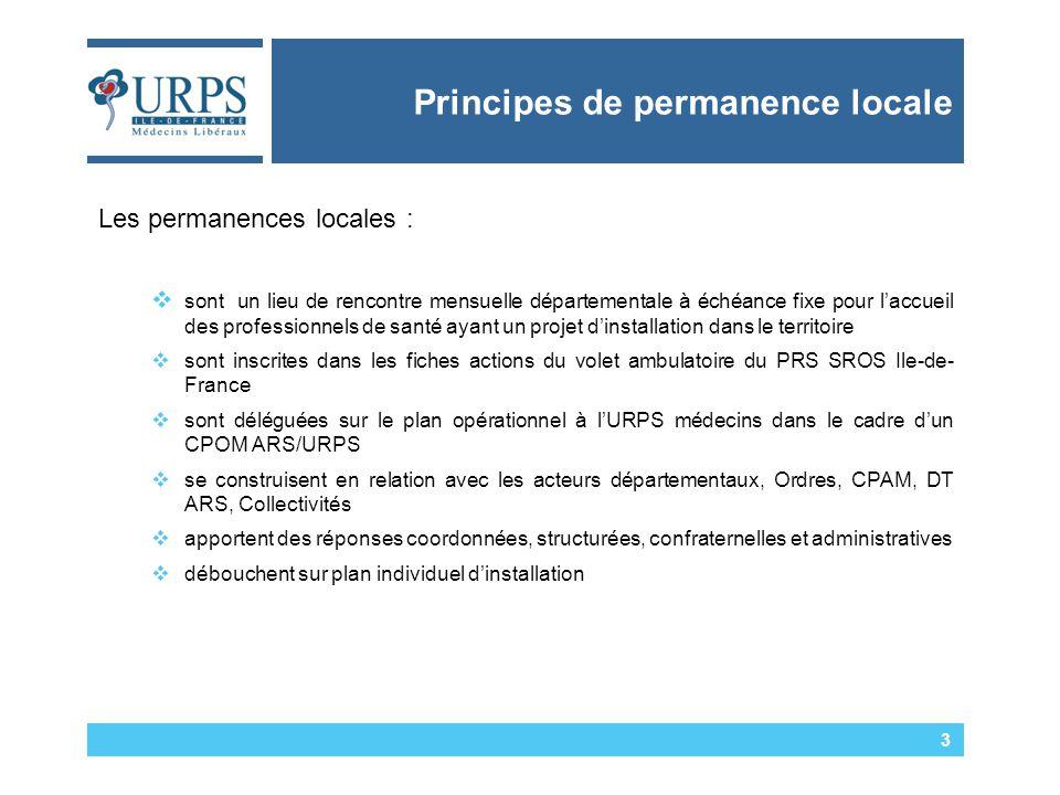 Principes de permanence locale 3 Les permanences locales :  sont un lieu de rencontre mensuelle départementale à échéance fixe pour l'accueil des professionnels de santé ayant un projet d'installation dans le territoire  sont inscrites dans les fiches actions du volet ambulatoire du PRS SROS Ile-de- France  sont déléguées sur le plan opérationnel à l'URPS médecins dans le cadre d'un CPOM ARS/URPS  se construisent en relation avec les acteurs départementaux, Ordres, CPAM, DT ARS, Collectivités  apportent des réponses coordonnées, structurées, confraternelles et administratives  débouchent sur plan individuel d'installation