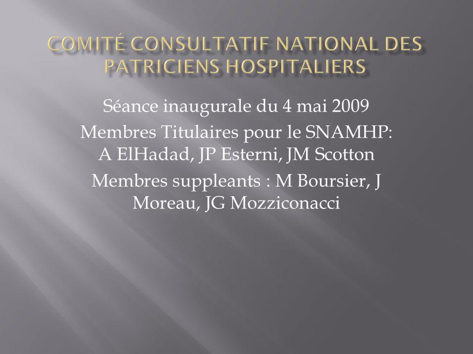 Séance inaugurale du 4 mai 2009 Membres Titulaires pour le SNAMHP: A ElHadad, JP Esterni, JM Scotton Membres suppleants : M Boursier, J Moreau, JG Mozziconacci