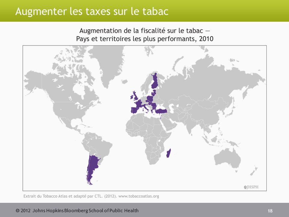  2012 Johns Hopkins Bloomberg School of Public Health Augmenter les taxes sur le tabac 18