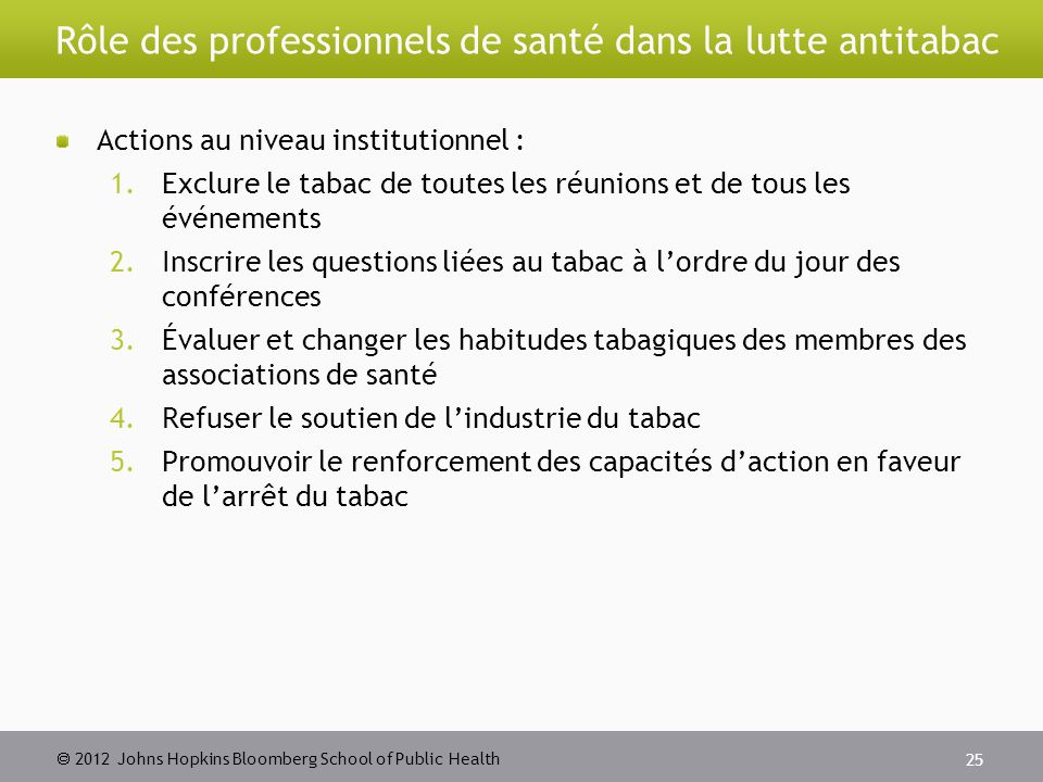  2012 Johns Hopkins Bloomberg School of Public Health Rôle des professionnels de santé dans la lutte antitabac Actions au niveau institutionnel : 1.E