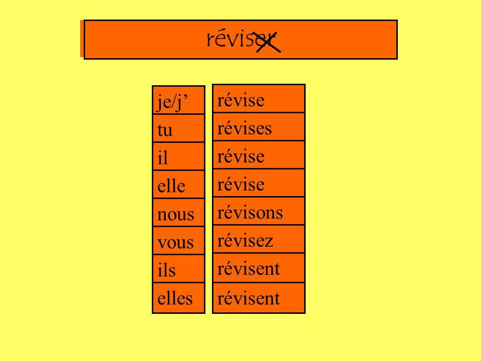 e es e e je/j' tu il elle nous vous ils elles ons ez ent Un exempleréviser = to reviseréviser = l'infinitif du verberéviser révise révises révise révise révisons révisez révisent révisent