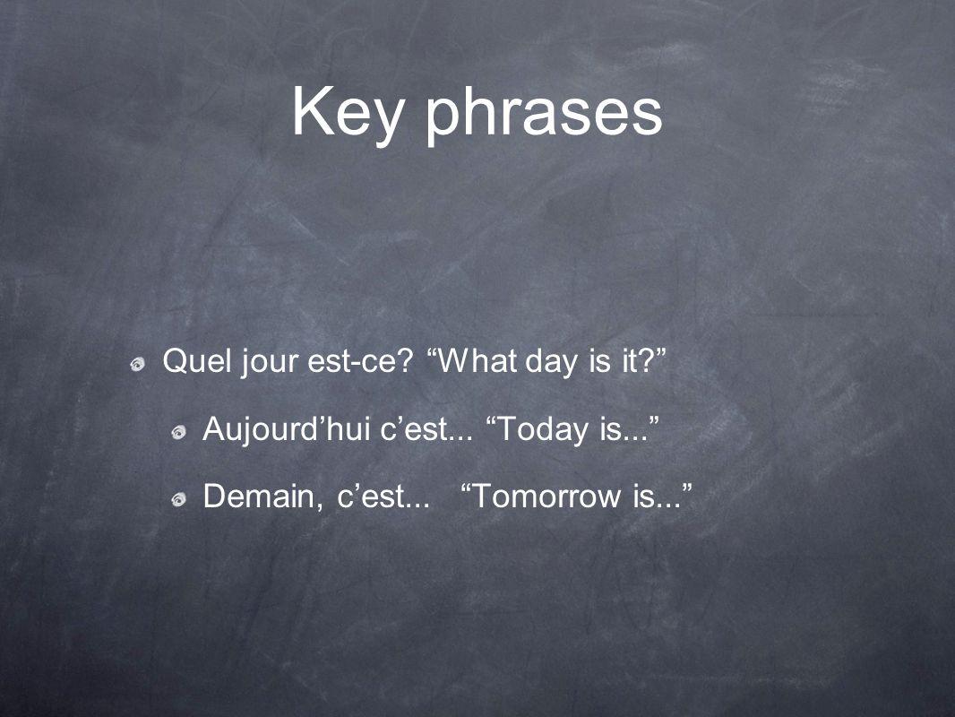 """Key phrases Quel jour est-ce? """"What day is it?"""" Aujourd'hui c'est... """"Today is..."""" Demain, c'est... """"Tomorrow is..."""""""