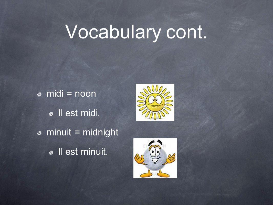 Vocabulary cont. midi = noon Il est midi. minuit = midnight Il est minuit.
