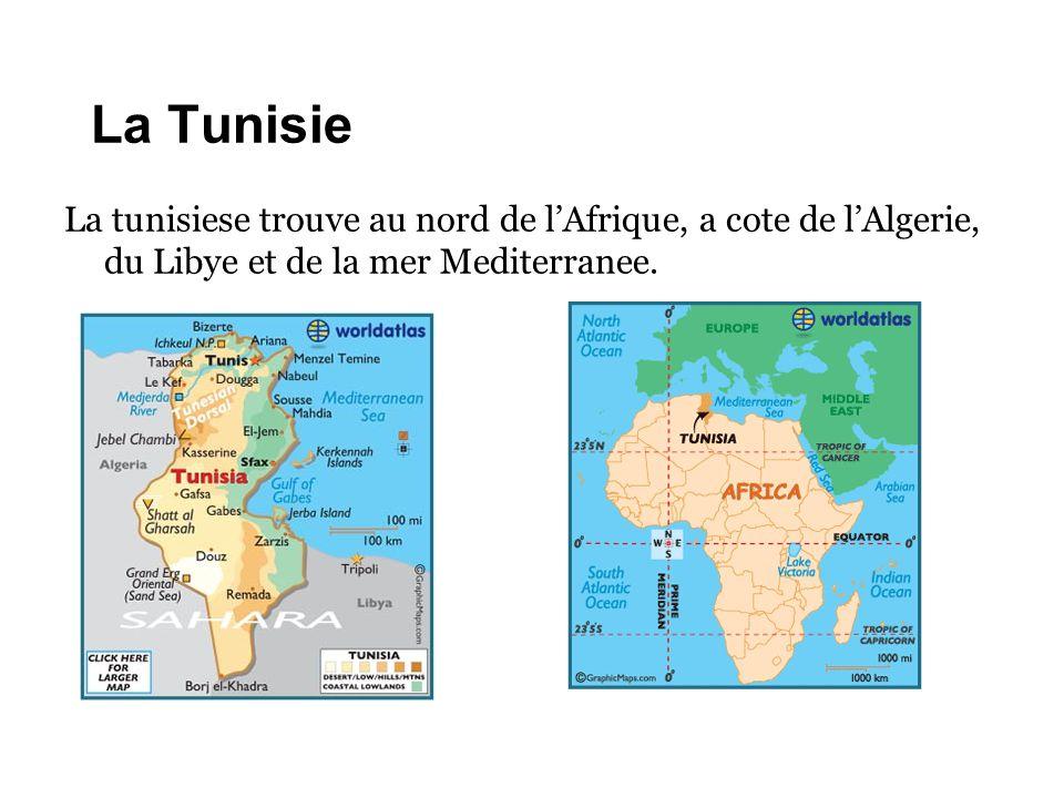 La Tunisie La tunisiese trouve au nord de l'Afrique, a cote de l'Algerie, du Libye et de la mer Mediterranee.