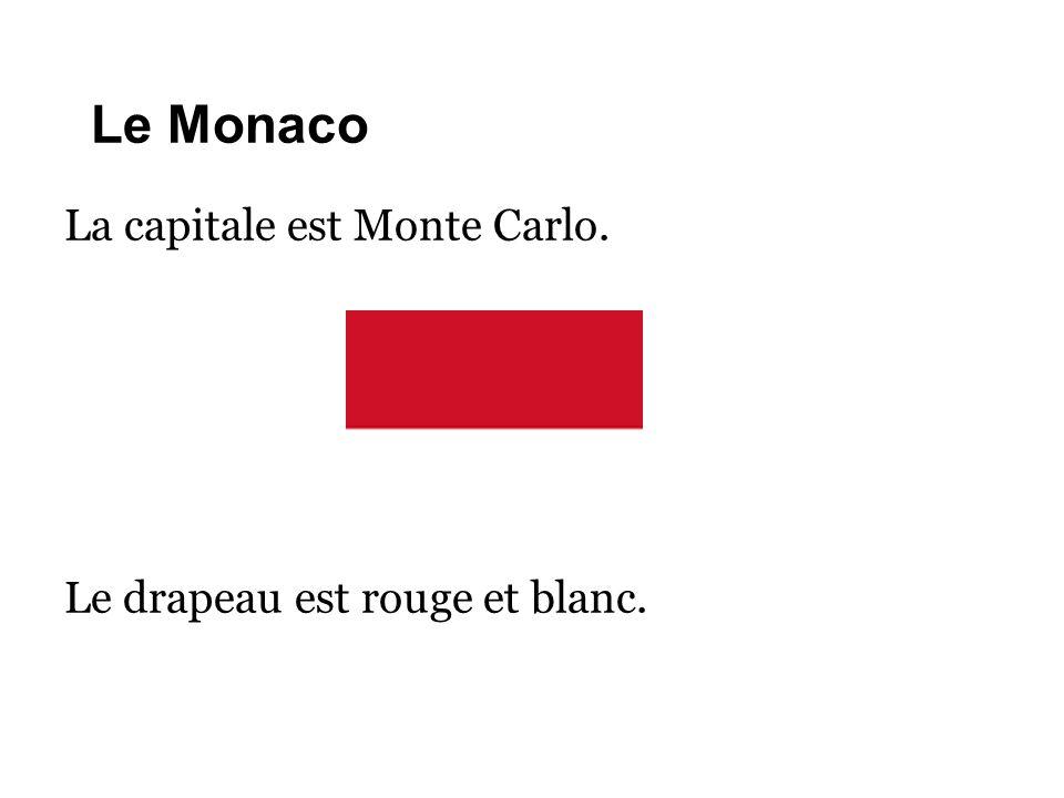 Le Monaco La capitale est Monte Carlo. Le drapeau est rouge et blanc.