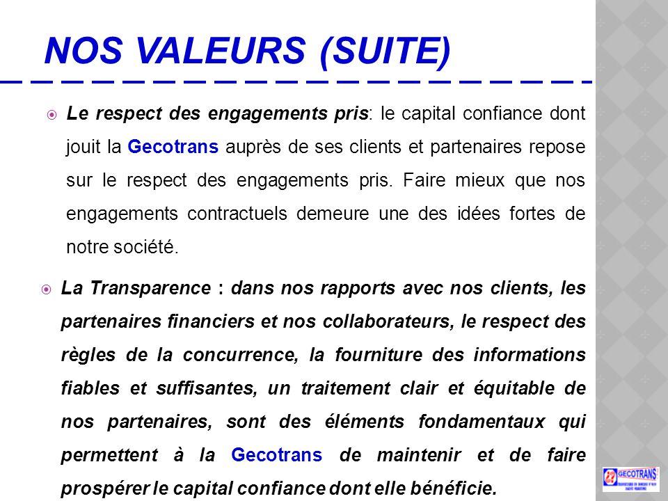  Le respect des engagements pris: le capital confiance dont jouit la Gecotrans auprès de ses clients et partenaires repose sur le respect des engagements pris.