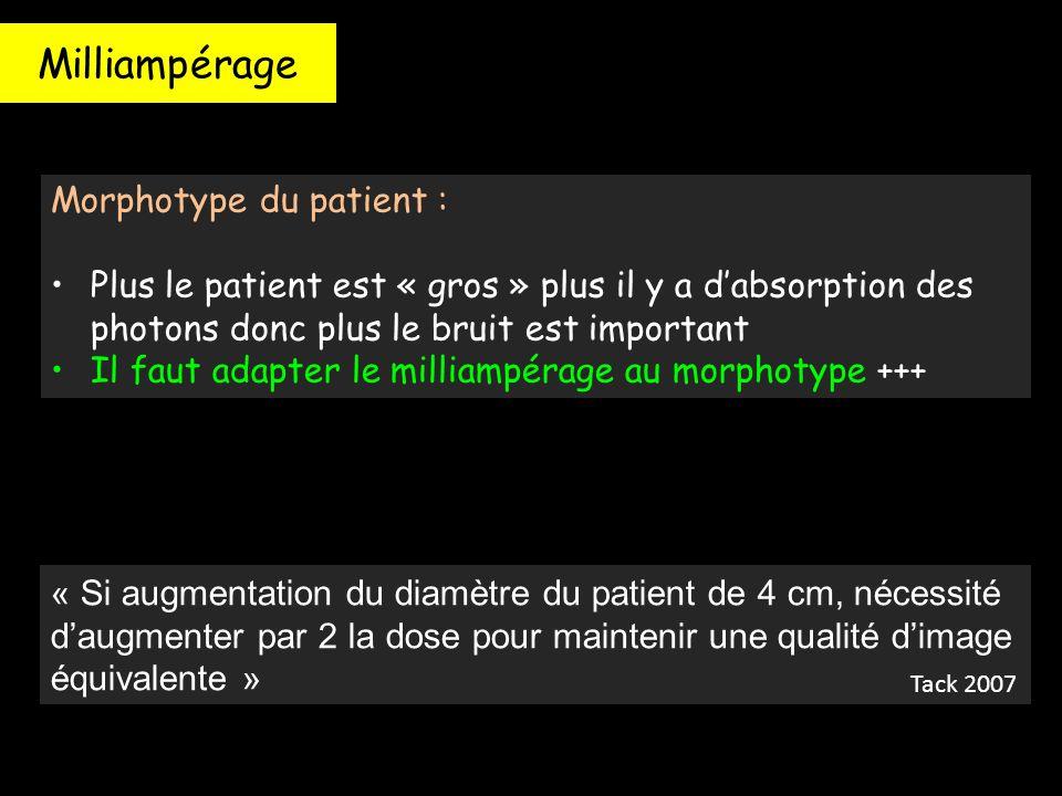 Milliampérage Morphotype du patient : Plus le patient est « gros » plus il y a d'absorption des photons donc plus le bruit est important Il faut adapt