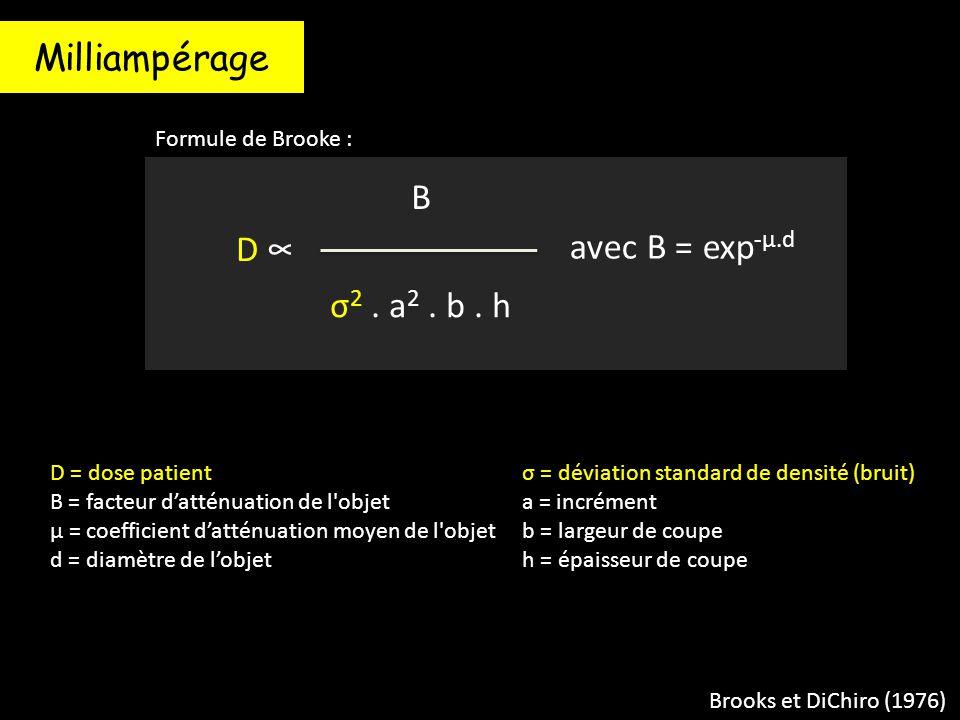 Brooks et DiChiro (1976) D = dose patient B = facteur d'atténuation de l'objet μ = coefficient d'atténuation moyen de l'objet d = diamètre de l'objet