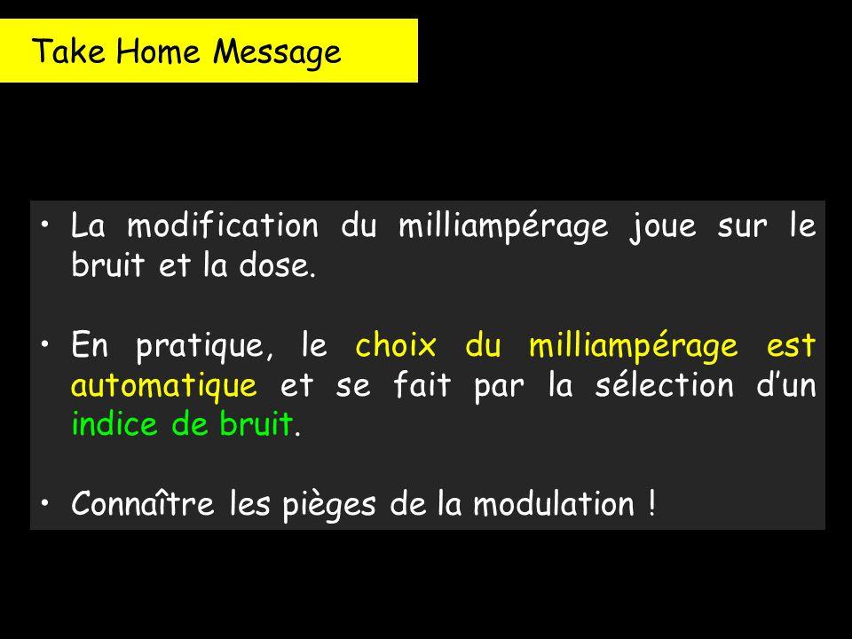 Take Home Message La modification du milliampérage joue sur le bruit et la dose. En pratique, le choix du milliampérage est automatique et se fait par