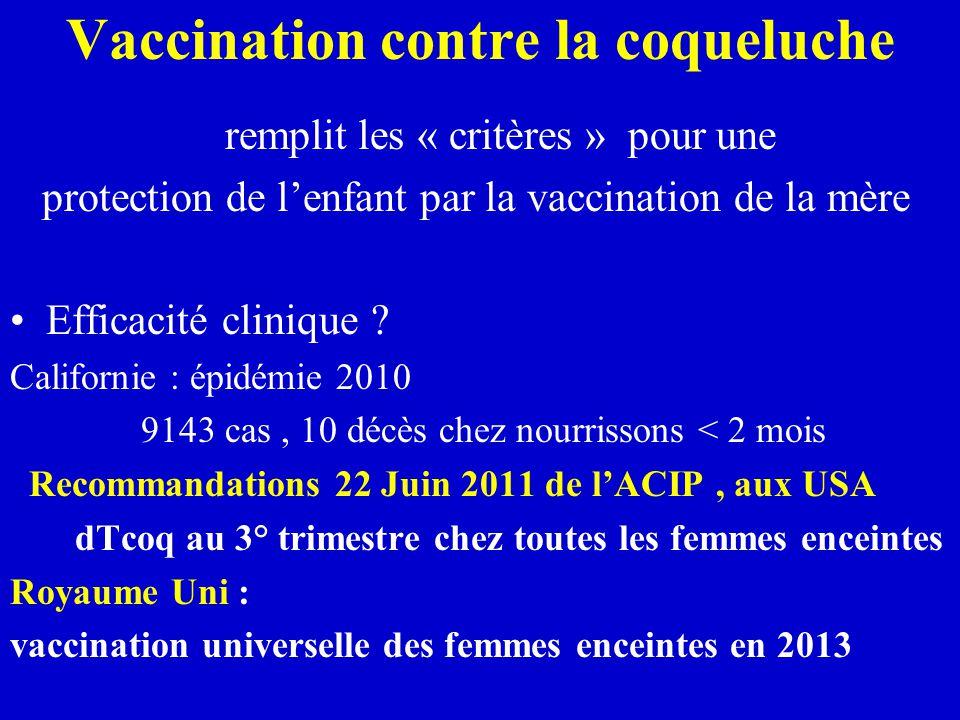 Vaccination contre la coqueluche remplit les « critères » pour une protection de l'enfant par la vaccination de la mère Efficacité clinique .