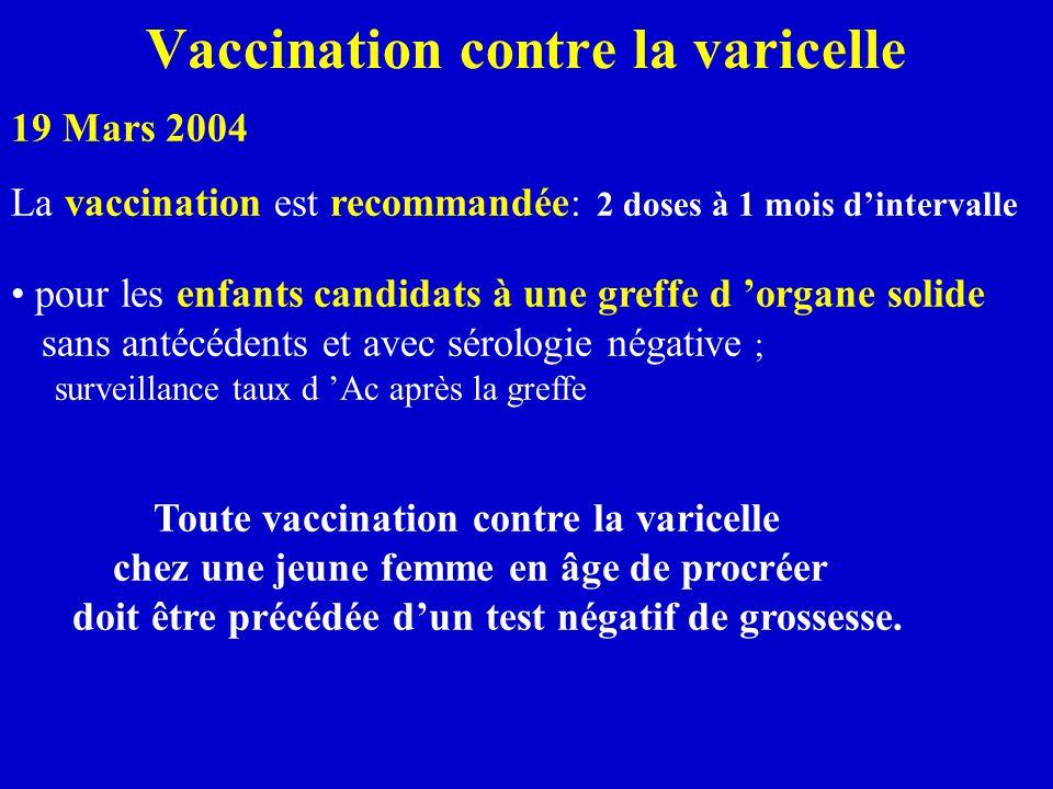 Vaccination contre la varicelle La vaccination est recommandée: 2 doses à 1 mois d'intervalle pour les enfants candidats à une greffe d 'organe solide sans antécédents et avec sérologie négative ; surveillance taux d 'Ac après la greffe Toute vaccination contre la varicelle chez une jeune femme en âge de procréer doit être précédée d'un test négatif de grossesse.