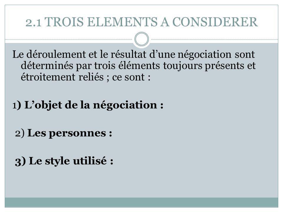 2.1 TROIS ELEMENTS A CONSIDERER Le déroulement et le résultat d'une négociation sont déterminés par trois éléments toujours présents et étroitement re