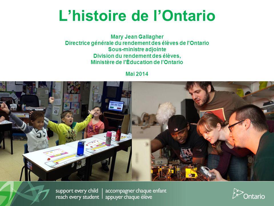 L'histoire de l'Ontario Mary Jean Gallagher Directrice générale du rendement des élèves de l'Ontario Sous-ministre adjointe Division du rendement des